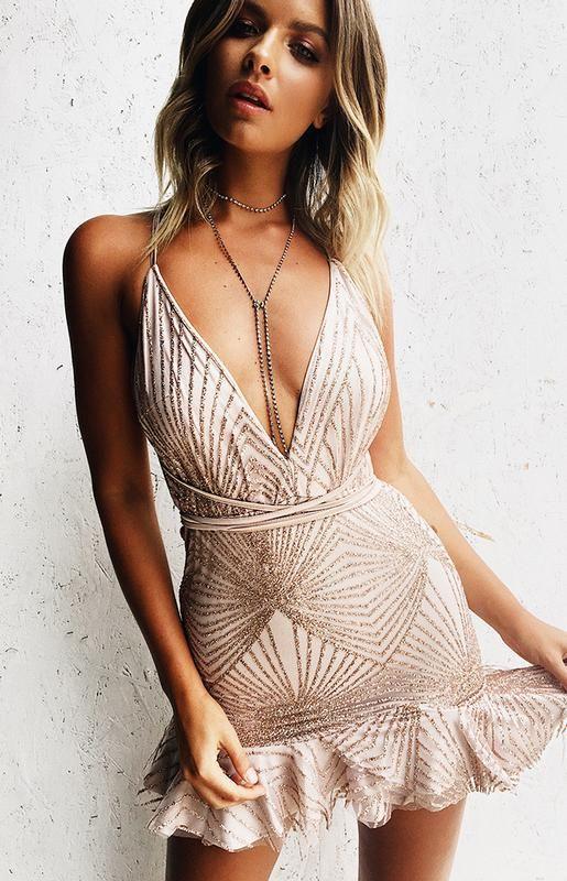 Cosmos Party Dress Nude