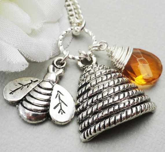 Silver Honey Bee Hive And Wire Wrapped Briolette by Kikiburrabeads, $18.50