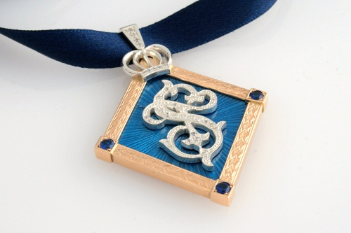 One of a kind pendant. Handmade by CaiSanni. Silver, yellow gold, enamel and cubic zirkonias.