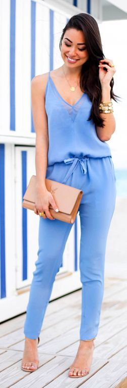 Baby Blue Slouchy Silk Jumpsuit #With Love From Kat