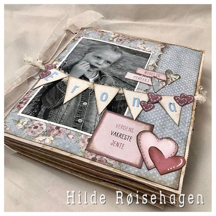 """19 likerklikk, 1 kommentarer – HildeRøisehagen (@hilderoisehagen) på Instagram: """"Minialbum laget til Erona. I dag fyller hun 7 år. Hipp hipp hurra  #stempelgalkort #papirdesign…"""""""