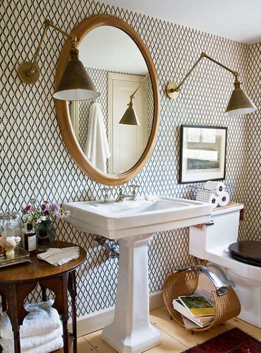 Wallpapered bathroom - Photography by: Justin Bernhaut for Domino - http://www.bernhaut.com/#