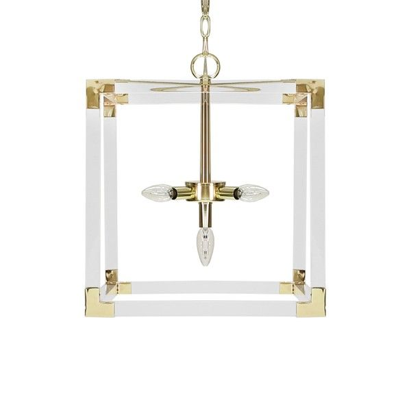 ELI BR - SQUARE ACRYLIC PENDANT WITH BRASS HARDWARE UL APPROVED FOR FIVE 40 WATT CANDELABRA BULBS