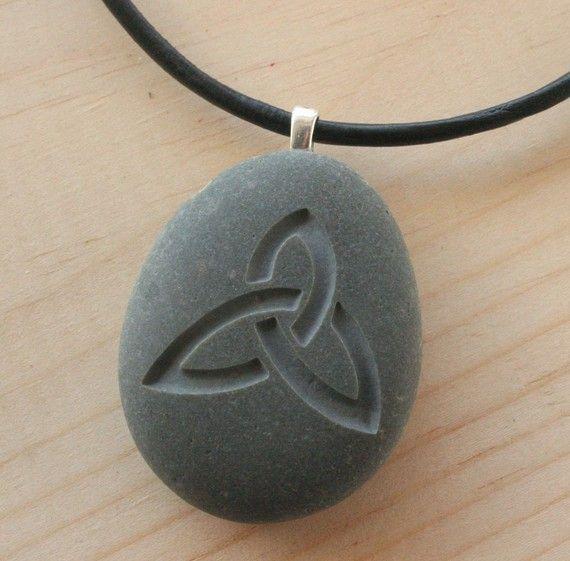 Celtic triquetra necklace - Tiny PebbleGlyph (C) pendant - engraved beach stone via Etsy