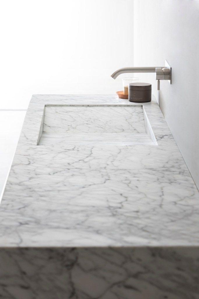 Countertop rectangular Carrara #marble washbasin D TAGLIO by Rexa Design | #design Susanna Mandelli @rexadesign