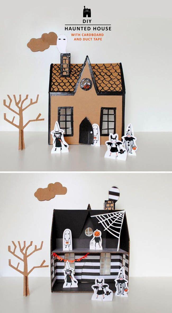 DIY cardboard haunted house