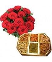 Dry Fruit Surprise 12 Red Roses with 1 kg assorted dry fruits consisting of Cashew,almonds,pistachios,raisins etc in a tray