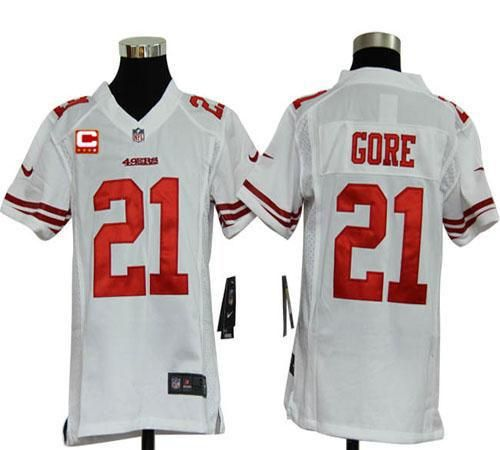 64a21528a ... Nike 49ers 21 Frank Gore White With C Patch Youth Embroidered NFL Elite  Jersey! Nike San Francisco 49ers 21 Frank Gore Lights Out ...