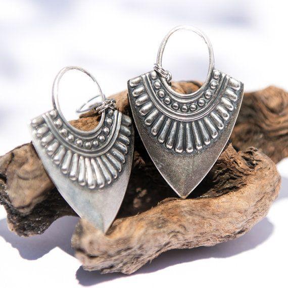 Boho Earrings, Bohemian Jewelry, Large Silver Earrings, Leverback, Unique Gift Idea Her