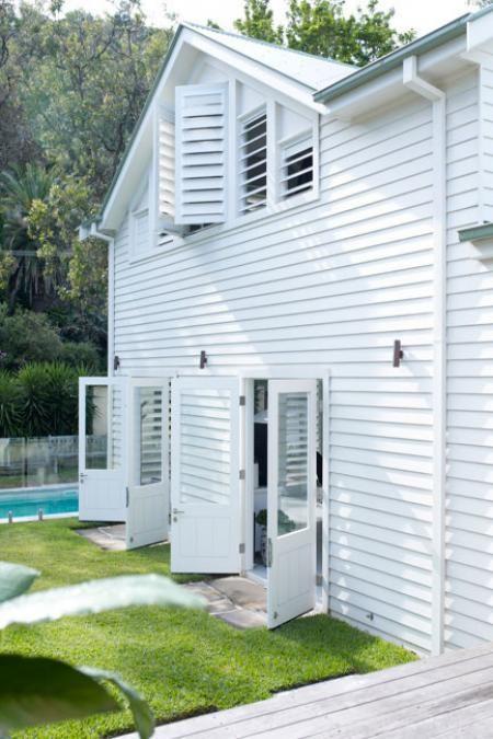 white modern farmhouse clapboard exterior