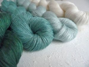 Příze 1ply 100% len 4 přadena  teal green collection