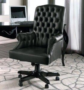Poltrona girevole da ufficio imbottita interamente in vera pelle, regolabile in altezza e reclinabile - art.380