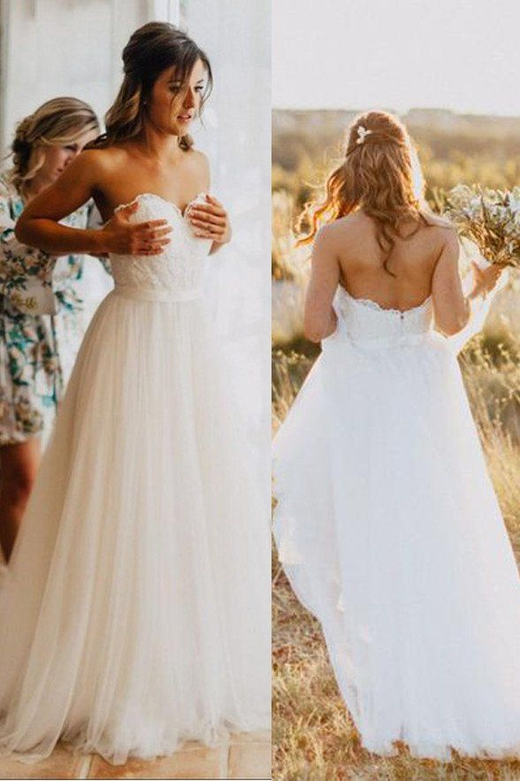 Empire Waist Sweetheart White Lace Beach Wedding Dresses Bridal Gowns LD139