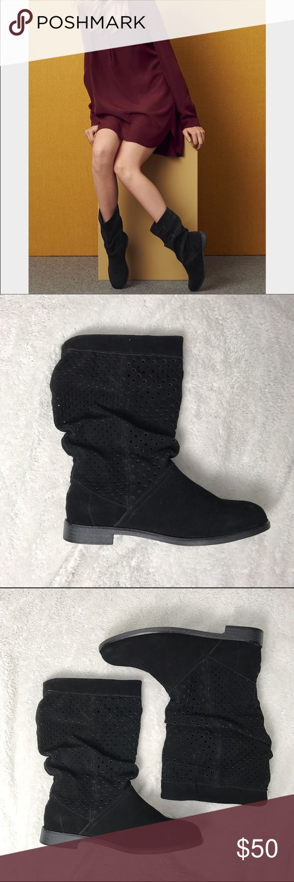 """TOMS Serra Boots NEW and NEVER WORN TOMS 'Serra' Boots in size 6.5.  Details A perforated shaft and a slouch silhouette lend casual, laid-back appeal to a round-toe boot from TOMS set on a short, stacked heel. If boot is difficult to slip on initially, place a plastic bag over your sock for easier entry. Tear away the bag once the boot is on your foot.  - 1"""" heel (size 8.5) - 10"""" boot shaft; 14"""" calf circumference - Pull-on style - Suede upper/textile lining/textile and rubber sole TOMS…"""