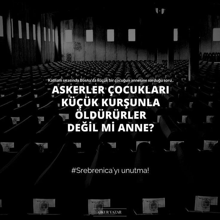 Katliam sırasında Bosna'da küçük bir çocuğun annesine sorduğu soru... Askerler çocukları küçük kurşunla öldürürler değil mi anne? Srebrenitsa katliamında yaşamını yitirenlere Allah rahmet eylesin... #sözler #anlamlısözler #güzelsözler #manalısözler #özlüsözler #alıntı #alıntılar #alıntıdır #alıntısözler #şiir #edebiyat #bosna #srebrenitsa #unutma #unutturma