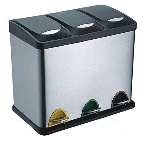 Treteimer Abfalleimer Mülleimer Mülltrennung Edelstahl (60 Liter 3x20L): Amazon.de: Küche & Haushalt