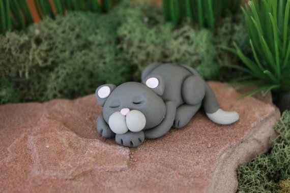 Polímero arcilla Cat gato miniatura Mini Cat por GnomeWoods