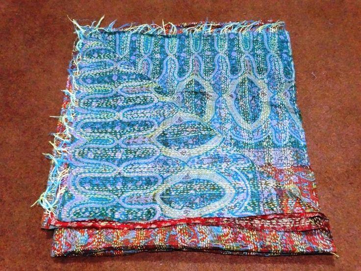 Indian Handmade Kantha Work Silk Scarf Women's Bandana Reversible Stole SLk 045 #Handmade #Scarf