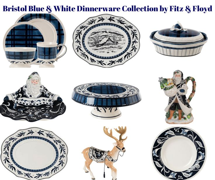 Bristol Blue & White Holiday Dinnerware Collection by Fitz & Floyd