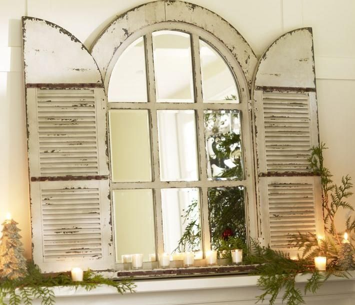 Furniture, White Color Window Pane Mirrors Decorative Mirrors With Framed Mirrors Large Wall Mirrors With Rustice Design Themed With Some White Candles On Fire ~ Ten Design Style Shape Of Window Pane Mirrors That Awesome And Cool