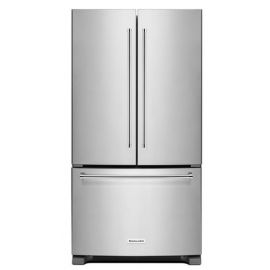 """The KitchenAid 36"""" and 20 cu. ft. French door refrigerator has a counter-depth design that gives it a built-in look. The ExtendFresh Temperature Management System and Produce Preserver help keep food fresh. LED lighting throughout the refrigerator makes food easy to find on every level."""