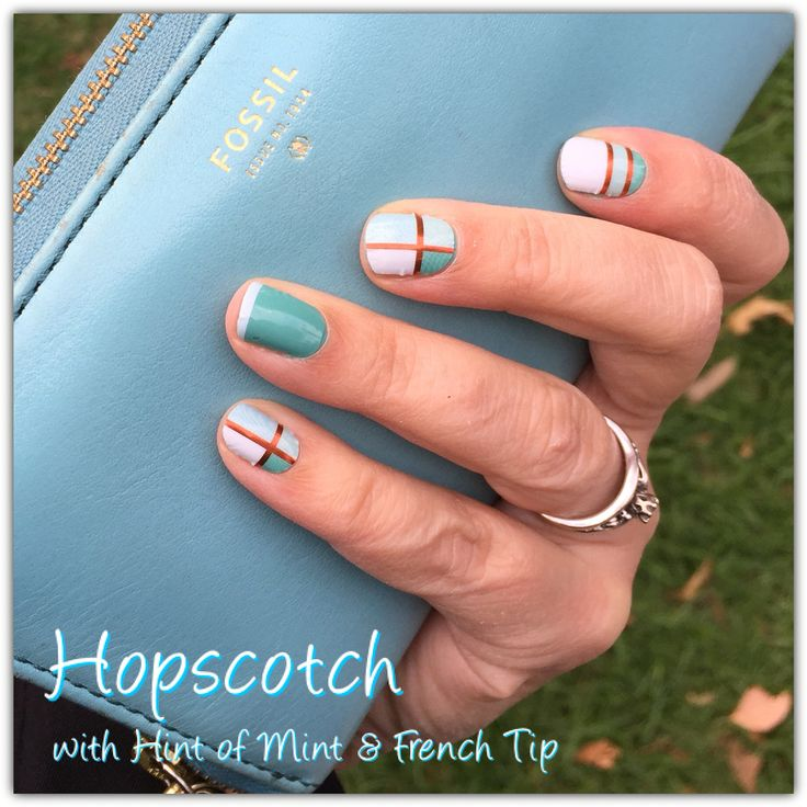 Jamberry Hopscotch with Hint of Mint Lacquer under French Tip