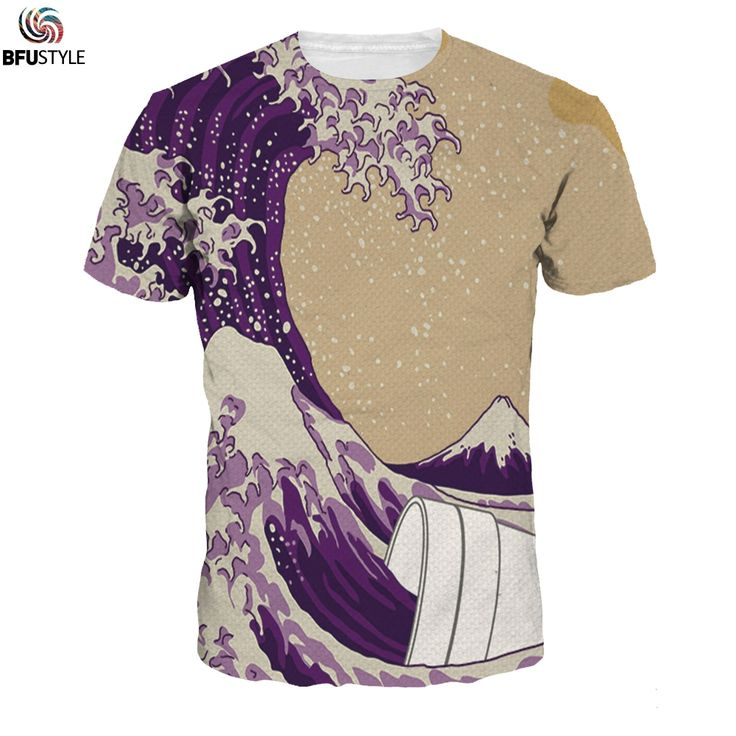 BFUSTYLE 3D T Shirt Funny Purple Waves T Shirts Men Harajuku Summer Style Brand Tee Shirts Casual Brand Tshirts Tops #Affiliate