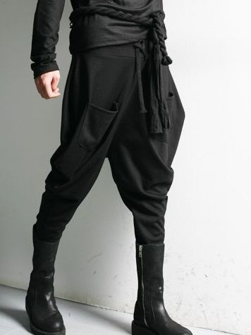 Fashion Men Pulling Ropes Double Pockets Long Harem Pants