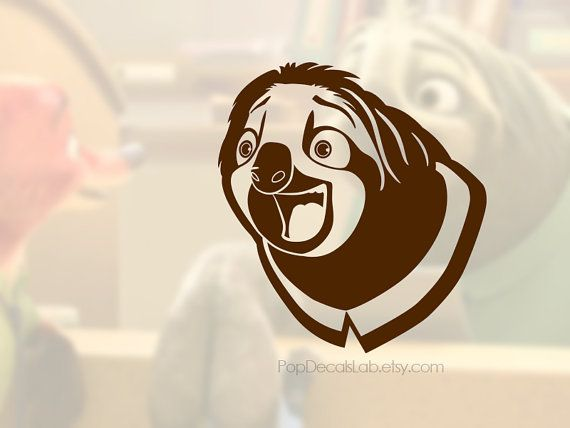 Flash laughing Scene vinyl decal - Zootopia sloth laugh- wall decal - car decal - macbook decal- laptop sticker - made in USA - PopDecalsLab