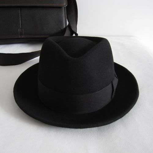 Classic Black Wool Winter Fashion Dress Fedora Hats for Men SKU-159016