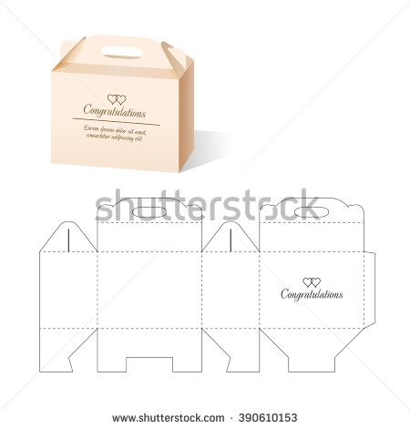 Retail Box With Blueprint Template Stock Vector Illustration 390610153 : Shutterstock