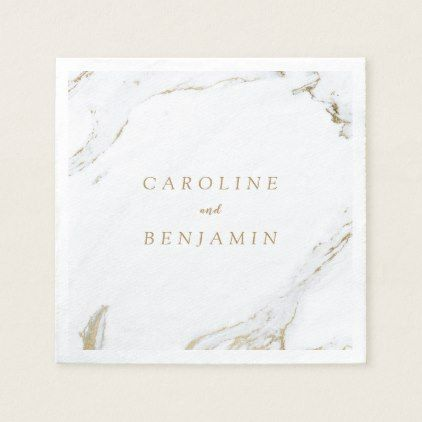 Faux Gold Foil Marble Luxury Modern Wedding Paper Napkin