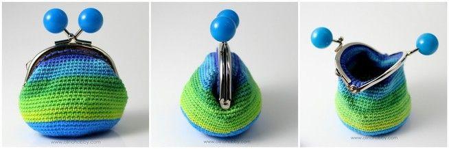 вязаный кошелек с фермуаром, вязаный кошелек на застежке с шариками, кошелек вязаный крючком, стильный вязаный кошелек, сине-зеленый вязаный кошелек MONEDEROS CROCHET