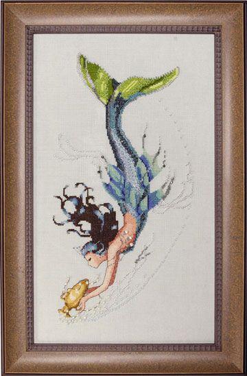 Mediterranean Mermaid by Nora Corbett of Mirabilia cross stitch designs, using Kreinik metallics.