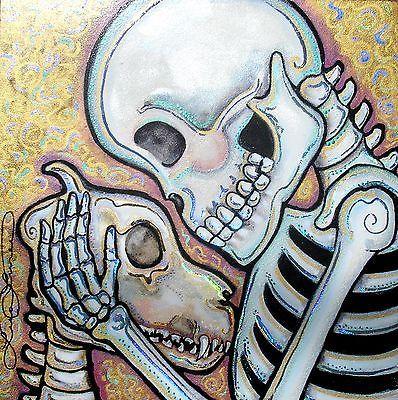 Lisa Luree Art Original Day of The Dead Dog Skeleton Soulmutt Ready to Hang OOAK | eBay