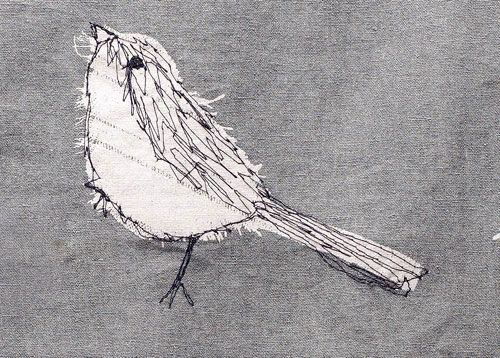 Machine Embroidered Bird Jen Moules Textile Design                                                                                                                                                                                 More