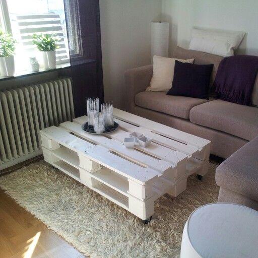 Mitt egna bidrag till lastpallsträsket :))) A table made of pallets!