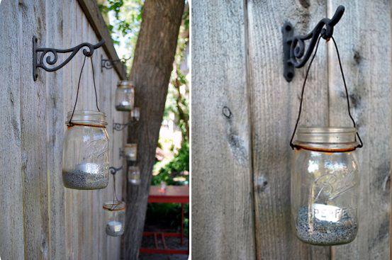 cute!Diy Ideas, Candles Holders, Teas Lights, Mason Jar Candles, Mason Jars Lanterns, Mason Jar Lanterns, Mason Jars Candles, Jars Lights, Backyards