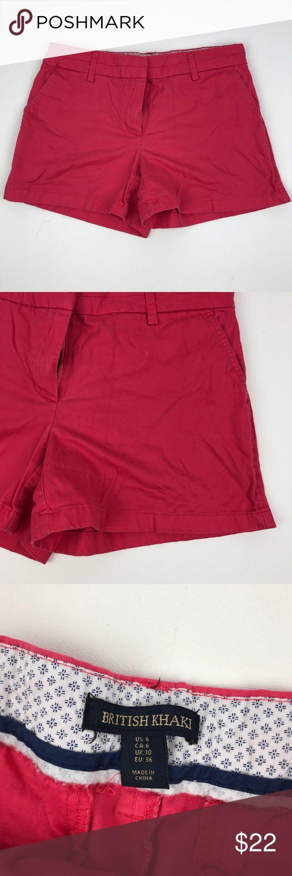 "BRITISH KHAKI Pink Shorts Size 6 Summer Spring S British Khaki pink shorts  Size 6   Waist (taken flat): 15.5""  Leg opening (flat): 11""  Rise: 11"" British Khaki Shorts"
