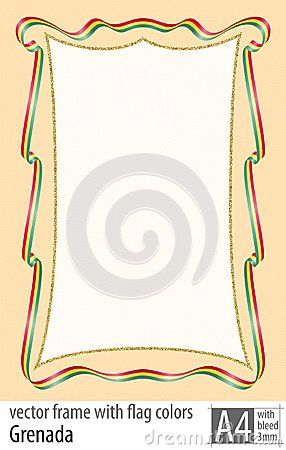 Frame and border of ribbon with the colors of the Grenada flag, with protective grid. Vector, with bleed three mm