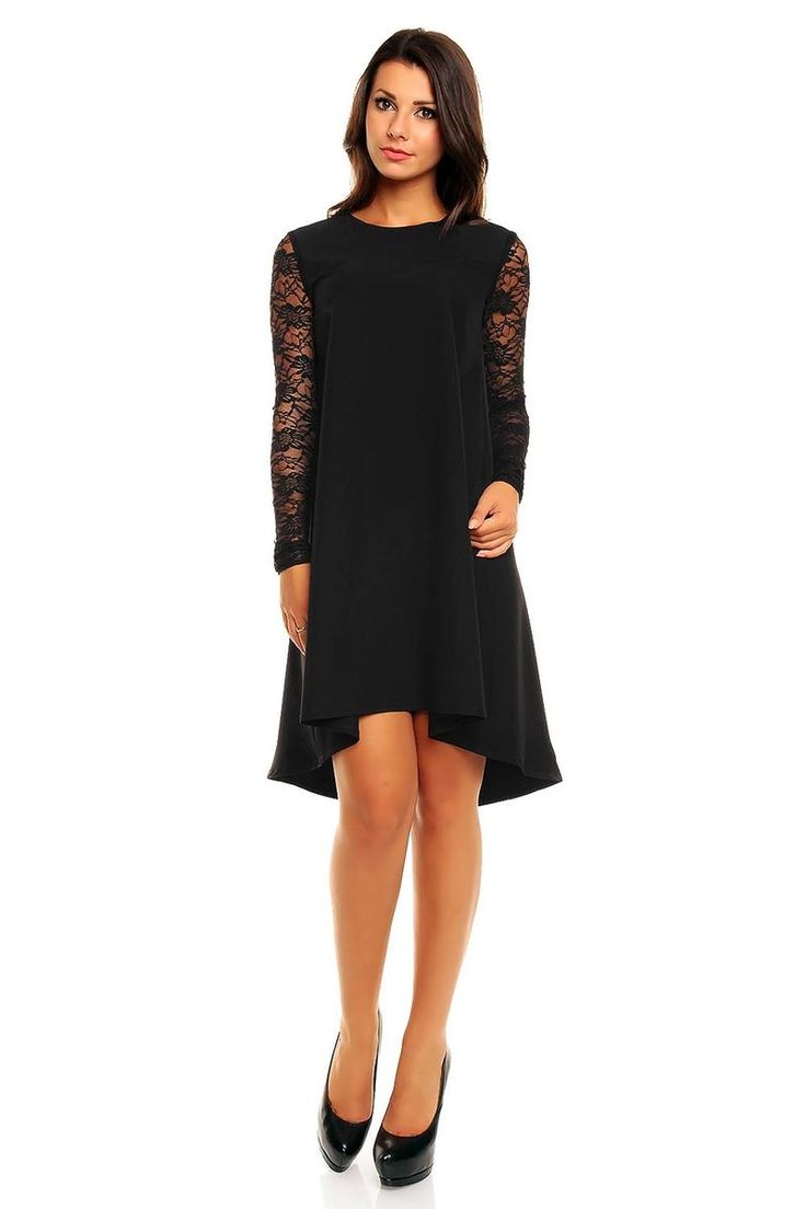 Black Asymmetrical Hemline Lace Sleeves Dress