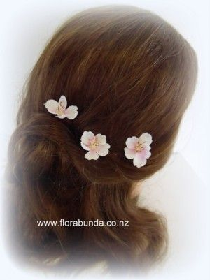 Pink & Ivory single blossom hair flowers set of 3 image