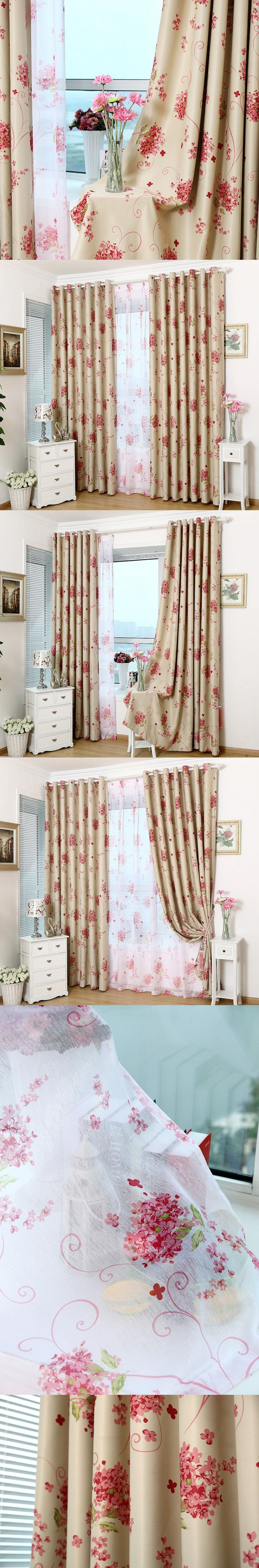 Rustic voile fabric curtain red floral blackout cloth ready-made window screens customize tulle $12.5