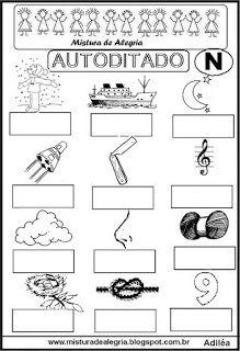 Autoditado para alfabetização com a letra N