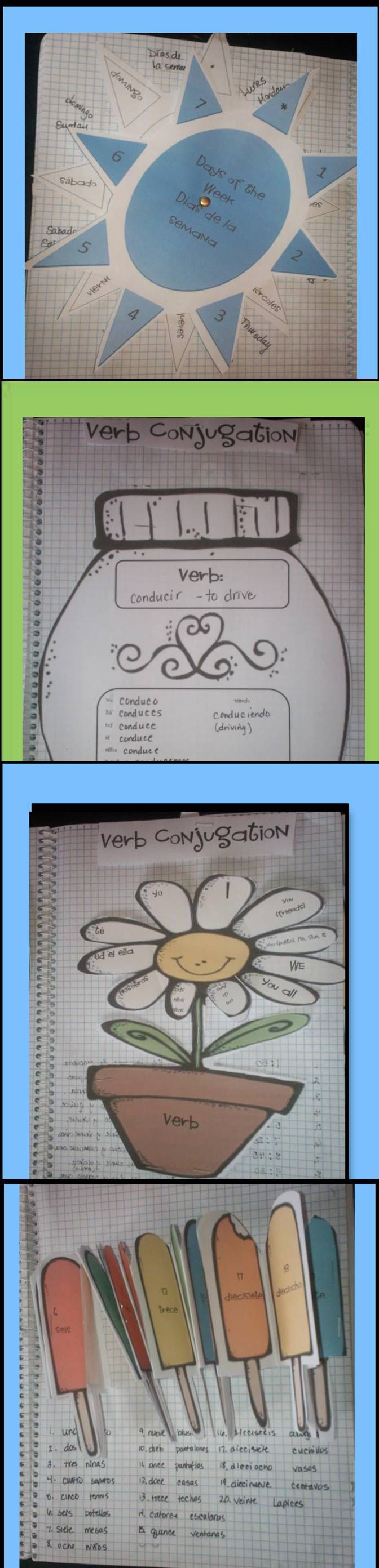 Spanish Conjugation Activities, Worksheets, Posters, Flapbooks, Lapbooks for Interactive Notebooks  These were made as a supplement to the Rosetta Stone Foreign language programs that we use.   This is a fun way for students to conjugate their new verbs helping them to compare and contrast different kinds of verbs: ar, er, and ir verbs and to organize their new vocabulary.  It is also a great way to compare and contrast the different tenses. $