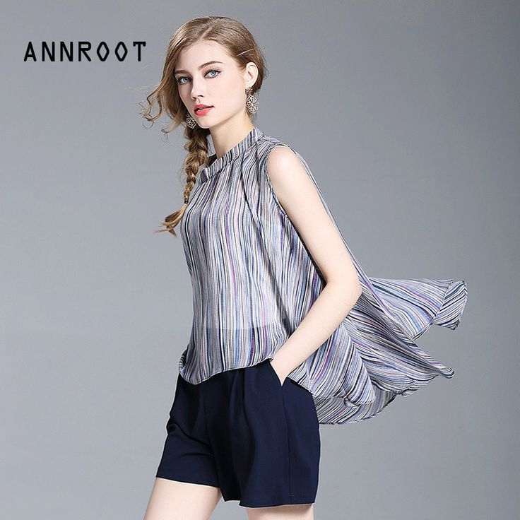 ANNROOT Summer Lady Set 2017 New Fashion Lovely Woman Set Chiffon Striped Women's Tops + Slim Shorts Office Women's Set 27022