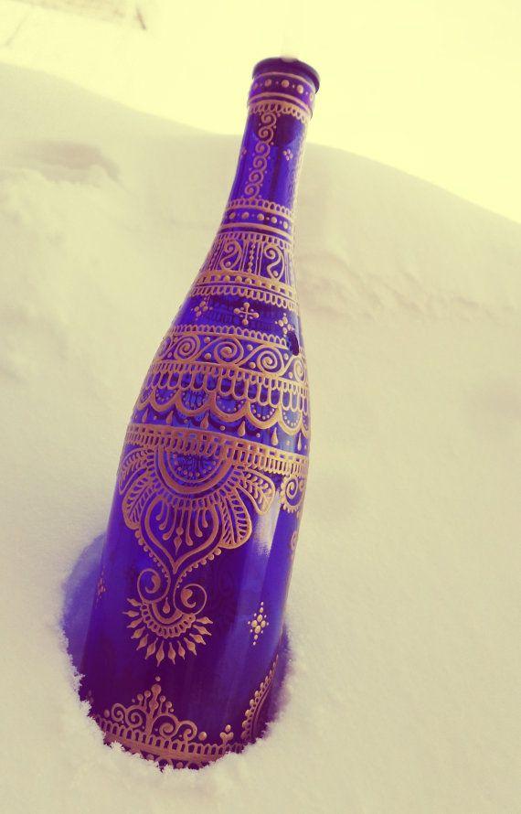 Cobalt Blue Henna Mehndi Gold Painted Incense Bong by Behennaed