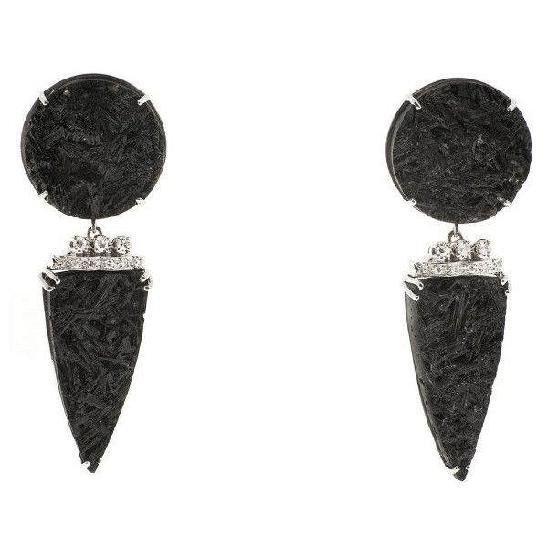 Pre-owned 14K White Gold Black Tourmaline Crystal Diamonds Dangle... ($3,495) ❤ liked on Polyvore featuring jewelry, earrings, 14 karat gold diamond earrings, 14k earrings, white gold earrings, round earrings and white gold diamond earrings