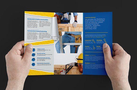 Handyman Trifold Brochure Template by BrandPacks on @creativemarket