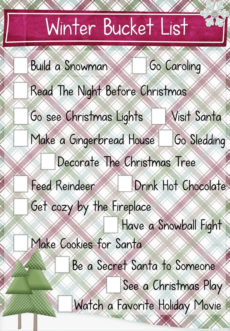 Winter Bucket List...
